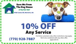 save 10% dog grooming, boarding, training